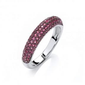 J-JAZ Micro Pave' Dome Ring Deep with Pink Cz's